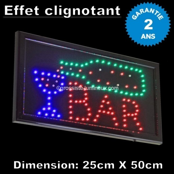 enseigne lumineuse led bar pas cher id al pour la. Black Bedroom Furniture Sets. Home Design Ideas
